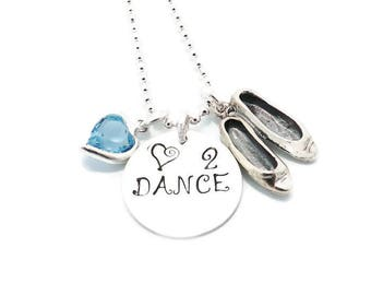 Love to Dance Charm Necklace, Dancer Necklace, Dancer Gift with Sterling Silver Dance Shoes Charm and Swarovski Crystal Heart