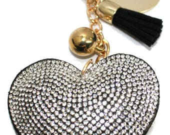 Engraved / personalised black heart with sparkles keyring / handbag charm LR17