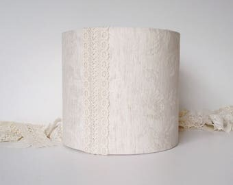 Lampshade Marks and Spencer Cream Ivory Linen Leaf fabric and lace 20cm drum lamp shade