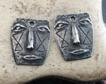 Handmade Face Charms, Artisan, Handcrafted, Jewelry Supplies No. 613CD