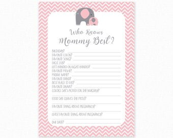 Pink Elephant Baby Shower Who Knows Mommy Best Printable - Pink Elephant Baby Shower Game - Digital Instant Download - Pink Shower Game