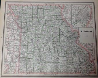 Vintage Iowa Map Etsy - Detailed map of iowa