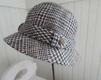19850a03fc178 Vintage Men s Black Plaid Fedora Hat Made by Country Gentleman - Wool  Fabric Woven in England