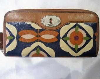 Vintage Fossil Ziparound Floral Organizer Wallet