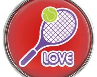 C0925  Art Glass Print Chunk - Love Tennis!