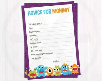 Baby Shower Advice Cards - Advice for Mommy - Little Monster Baby Shower Games Printable - Activities - Gender Neutral Baby Shower Keepsake