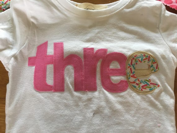 girls thee donut party shirt, 3 donut birthday party, birthday donut shirt, sprinkles pink raglan shirt, 1 2 3 4 donut birthday, party wear,