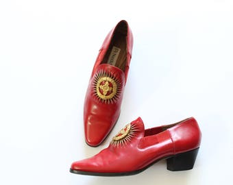 Size 7 Leather Ankle Boots Loafers With Medallion in Red Italian Leather Uppers and Soles by Nando Muzi
