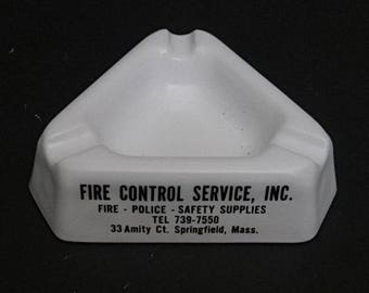 Fire Control Service, milk glass advertising ashtray, Police Fire Safety advertising, man cave , triangular ashtray, smoking accessory