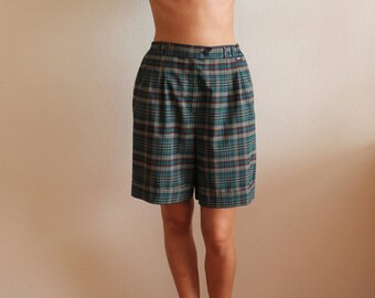 Vintage Shorts Women Shorts Green Plaid Shorts Checked High Waisted Wool Blend Shorts with Pockets Plaid Golf Shorts Bermuda Shorts
