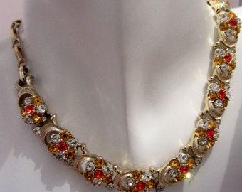 vintage amber rhinestone choker, orange red clear rhinestone gold metal choker,tangerine necklace, 80's style rhinestone choker,