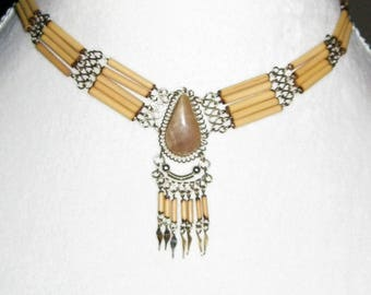 Bamboo Necklace Tan Jasper, White Onyx or Chrysocolla Artisian Jewelry - Natural gemstone - Peruvian Silver