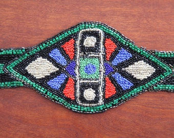 Gorgeous Antique Art Deco Flapper Handmade Beaded Belt-Vintage 1920's Textile