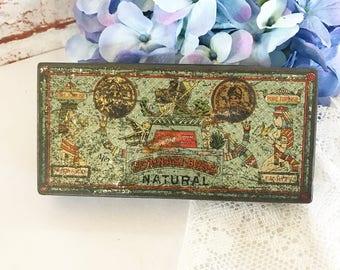 Antique Schinasi Bros Egyptian Cigarette Tin, Art Deco, 1920's, Egypt, pharaoh, revival, pyramids, Cleopatra, tobacco box, advertising