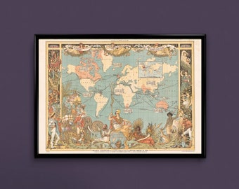 World Map Print, Imperial Federation Map of the World, Vintage World Map, Wall Art, Home Decor