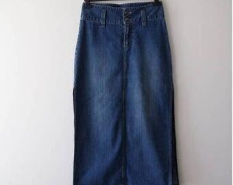 Vintage Maxi Denim Skirt Button Up Skirt Long Skirt High Waist Skirt Size Medium