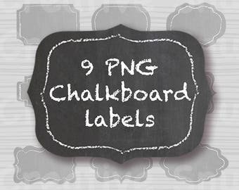 9 different styled Chalkboard Labels each in Large & Small Total of 18 files. Instant Download PNGs - Gifts Handmade Jam Menu Signage