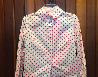 1980S // MINNIE MOUSE // Red and White Polka Dot Button Down