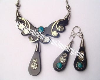 Bull's Horn Teardrops Ethnic Artisan Earrings and Necklace Set Handmade Peruvian Jewelry