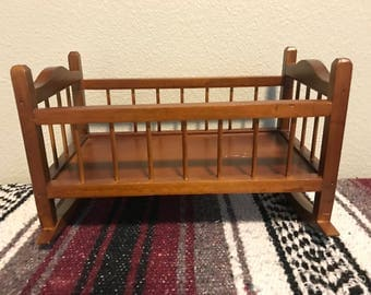 Vintage Wooden Baby Doll Cradle Bed