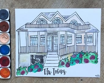 Water Color Home Painting and Sorority House Painting, House Water Color, House Painting, Custom House Painting