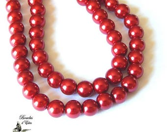 110 Pearly red glass beads 8mm