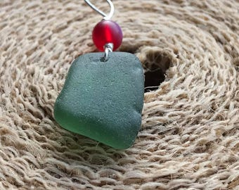"""Sterling Silver Seaglass """"Holly Berries"""" Pendant Necklace - Green Scottish Sea Glass - 18"""" Sterling Silver Chain & Red Frosted Berry Bead"""