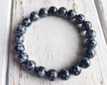 Snowflake Obsidian 6mm Bracelet, Choice of Charm, Bracelet Beaded Bracelet Gemstone Bracelet Intention Jewelry Yoga Bracelet Mala Beads