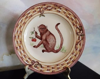 Monkey Plate By American Atelier Porcelain With Basket Weave Border_Decorative Plate With Monkey