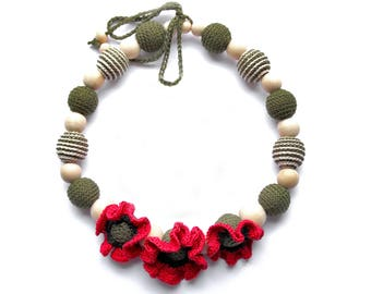 Red poppy necklace, Nursing for mom&baby, Summer Jewelry, Crochet Breastfeeding Necklace, Collana allattamento, new mom gift, Baby Shower