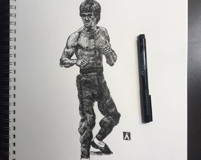KillerBeeMoto:  Original Pen & Ink Sketch of Bruce Lee Martial Artist