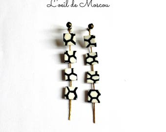Designer earrings four black and white squares s