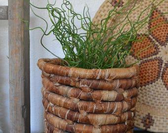 Vintage Large Coiled Basket • Large Boho Planter