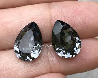 4320 SILVER NIGHT 14x10mm Swarovski Crystal Pear Teardrops 2 pieces or 10 pieces, Dark Grey Fancy Stones