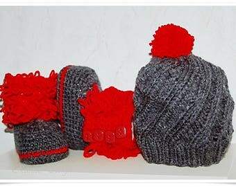 Newborn baby crochet and knitted set baby set photo shooting photo prop baby set crochet baby set grey red knitted baby hat