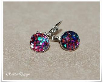 Earrings Silver glitter handmade pendant earrings Cabachon Earrings