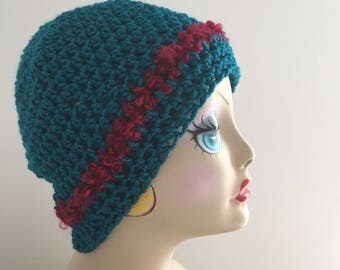 Crochet Hat, Teal Hat, Turquoise Hat, Ladies Teens Cap, Fall, Winter, Outdoor Activities Cap, Ski Hat