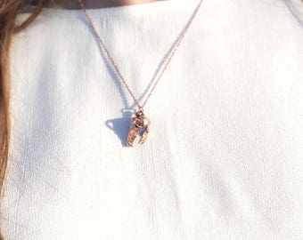 Rose Gold Tiger Skull Dainty Necklace