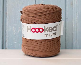 t-shirt yarn 135 yards, ecologic cotton, Zpagetti,bear brown, recycled yarn, cotton yarn, elastic yarn