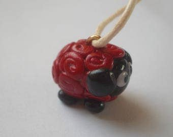 PENDANT FIMO polymer clay red fantasy sheep