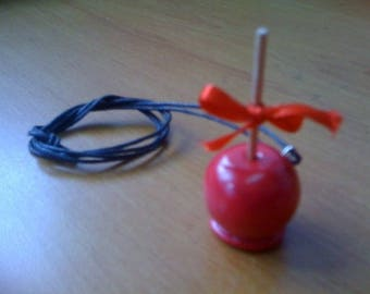 CANDY APPLE POLYMER CLAY + LINK PENDANT