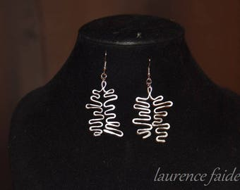 Earrings all fine silver and hammered aluminum