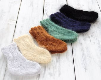 Newborn knit angora socks. Angora booties. Photoprop. Newborn socks.