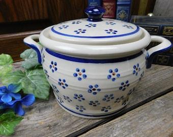 Vintage Flower Dot Polish Pottery - Casserole -  Covered Casserole - Boleslawiec