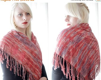 BIG SALE Vintage flamenco fringe scarf wrap shawl terra-cotta deep red pink lavender purple