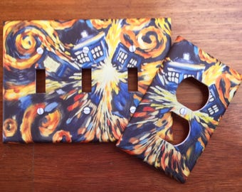 Doctor Who Light Switch Cover Whovian Tardis Van Gogh Booth DWAS Fandom // SAME Day SHIPPING**