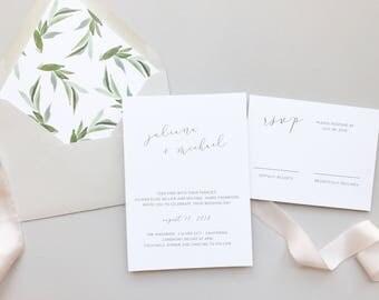 Modern Greenery Wedding Invitation / Letterpress or Digital Printing / Minimalist, Chic Invitation Suite / #1131