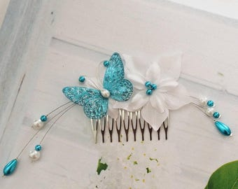 Bridal comb wedding hair flower satin white Turquoise Butterfly jewelry
