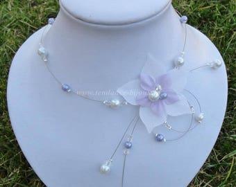 Bridal necklace wedding parma white or ivory flower silk wedding
