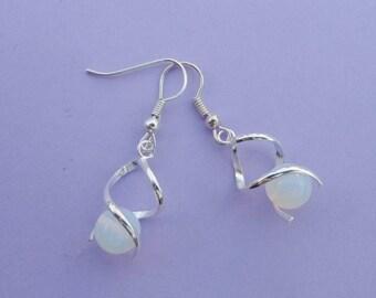 Opalite Moonstone Twist earrings 925 sterling silver